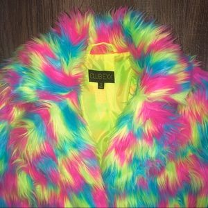 532dcc82a Club Exx Unisex Rainbow Fur Jacket NWT